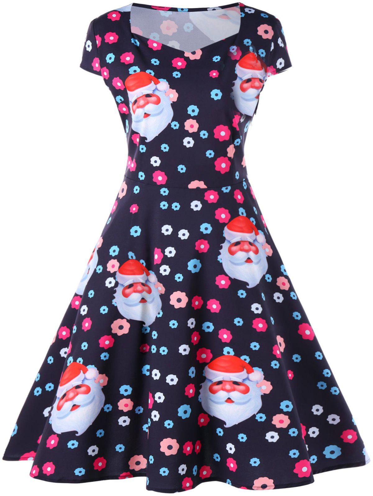 Christmas Floral and Santa Print Flare DressWOMEN<br><br>Size: S; Color: BLACK; Style: Vintage; Material: Polyester; Silhouette: A-Line; Dresses Length: Mid-Calf; Neckline: Sweetheart Neck; Sleeve Type: Cap Sleeve; Sleeve Length: Short Sleeves; Pattern Type: Character,Floral; With Belt: No; Season: Fall,Spring,Summer; Weight: 0.2470kg; Package Contents: 1 x Dress;