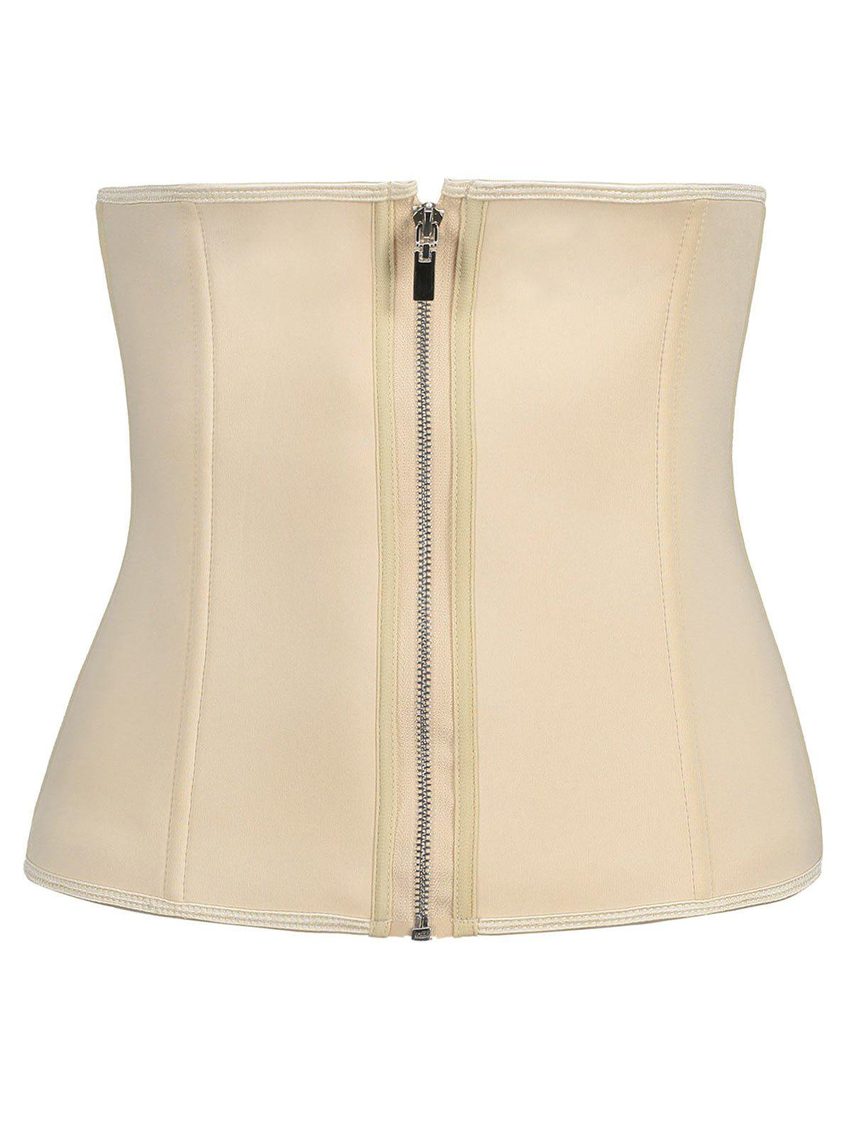 Waist Trainer Plus Size Zip Up CorsetWOMEN<br><br>Size: 5XL; Color: COMPLEXION; Material: Nylon; Pattern Type: Solid; Embellishment: Zippers; Weight: 0.4100kg; Package Contents: 1 x Corset;
