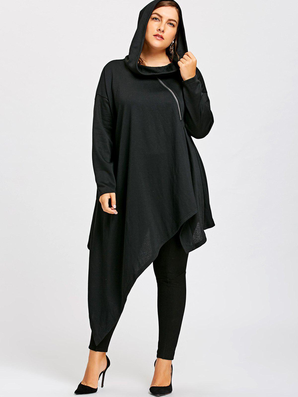 Plus Size Drop Shoulder Longline Asymmetrical HoodieWOMEN<br><br>Size: XL; Color: BLACK; Material: Polyester; Shirt Length: Long; Sleeve Length: Full; Style: Novelty; Pattern Style: Solid; Season: Fall,Spring; Weight: 0.9100kg; Package Contents: 1 x Hoodie;
