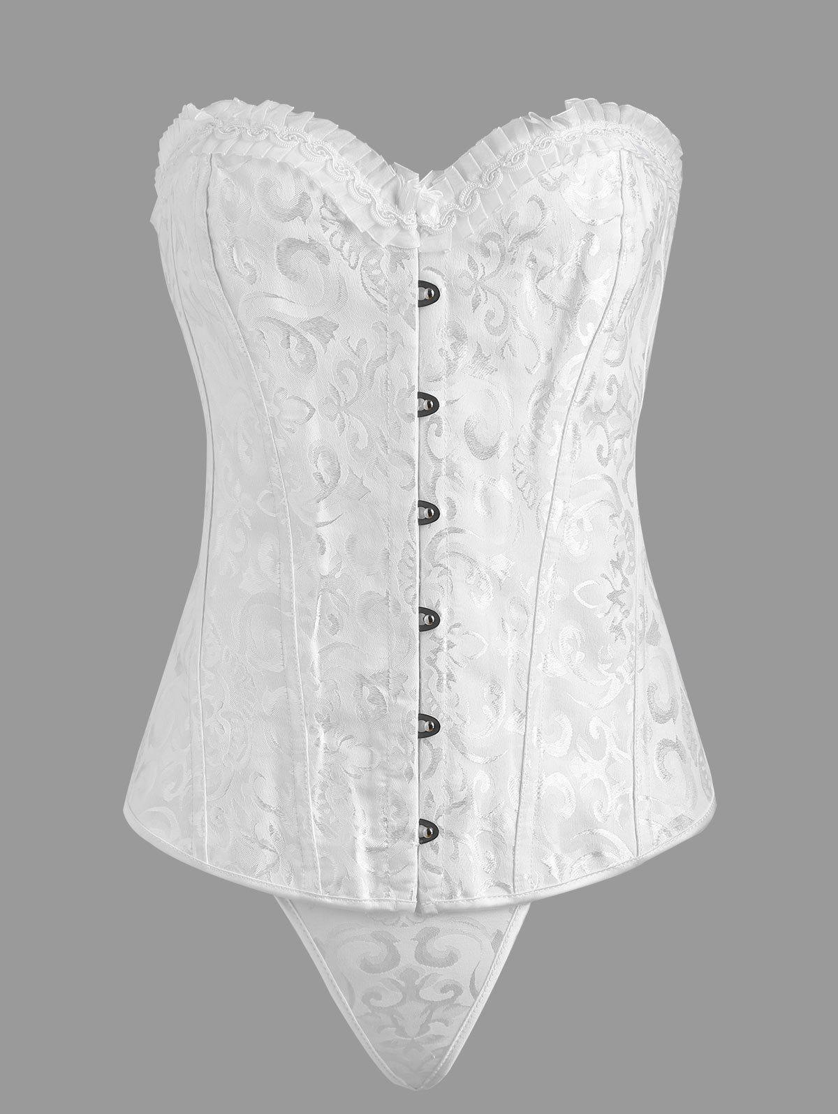 Plus Size Ruffle Jacquard Lace Up CorsetWOMEN<br><br>Size: 6XL; Color: WHITE; Material: Polyester; Pattern Type: Solid; Embellishment: Criss-Cross,Ruffles; Weight: 0.3750kg; Package Contents: 1 x Corset 1 x T-back;