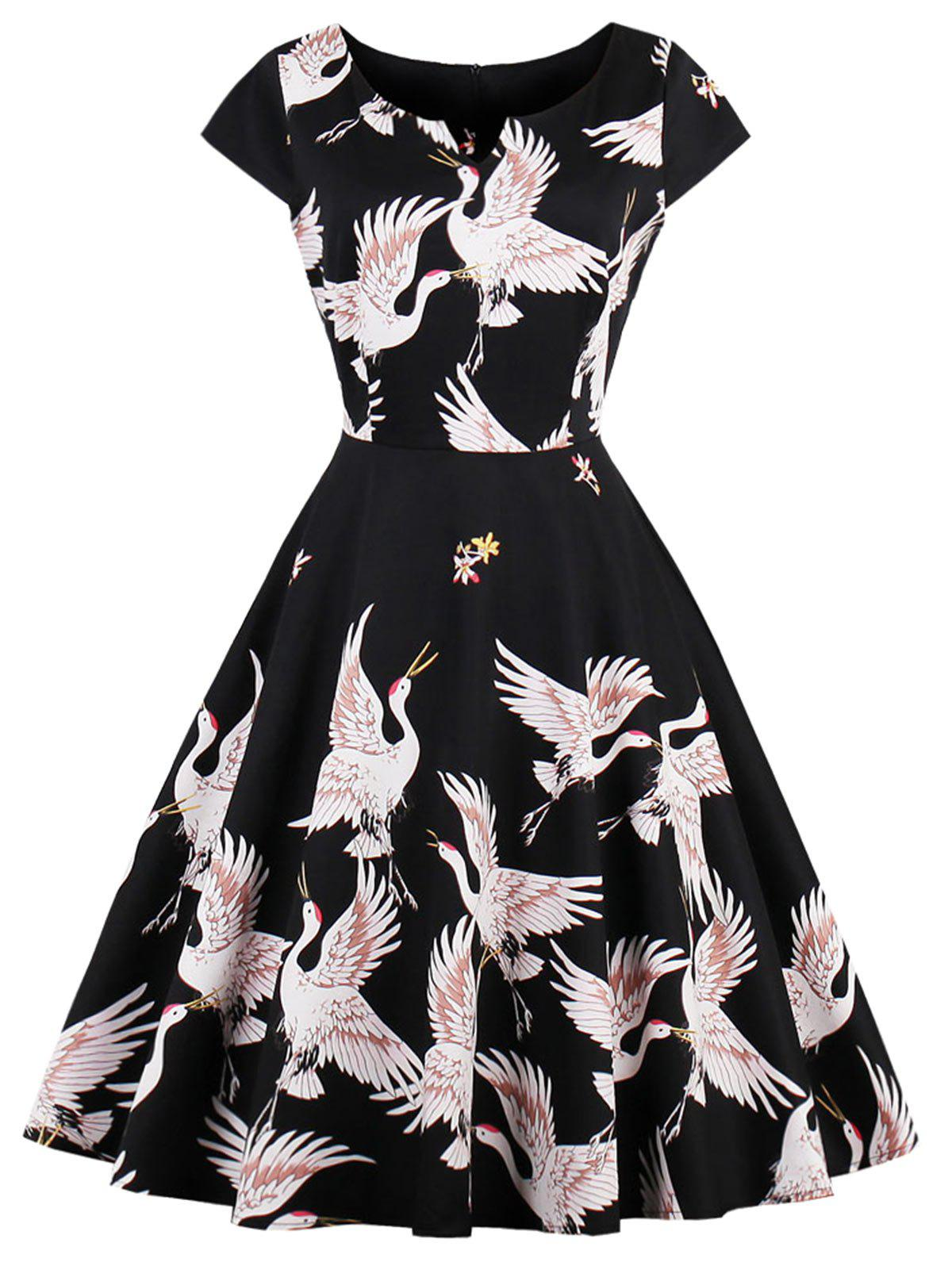 Plus Size Vintage Crane Print Cap Sleeve DressWOMEN<br><br>Size: 3XL; Color: BLACK; Style: Vintage; Material: Cotton,Polyester; Silhouette: A-Line; Dresses Length: Knee-Length; Neckline: Round Collar; Sleeve Type: Cap Sleeve; Sleeve Length: Short Sleeves; Pattern Type: Animal; With Belt: No; Season: Fall,Spring,Summer; Weight: 0.3700kg; Package Contents: 1 x Dress;