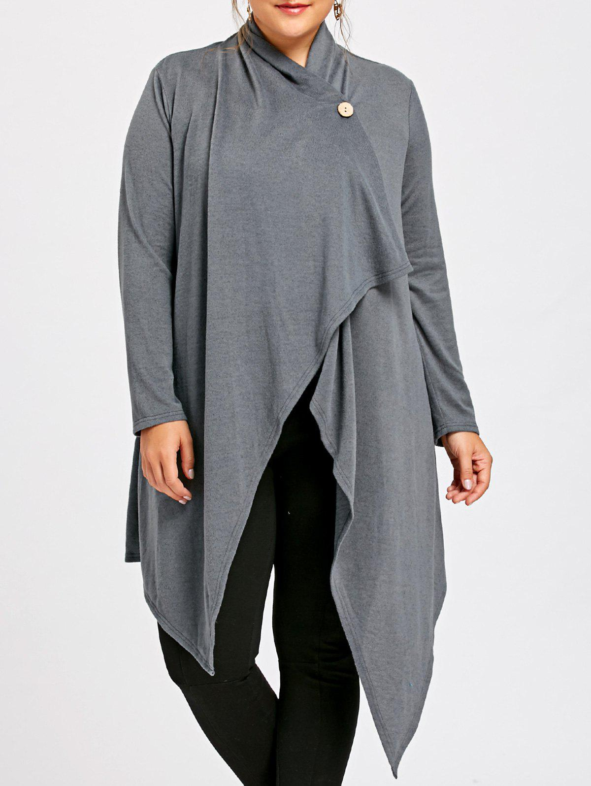 Plus Size One Button Asymmetrical Tunic CardiganWOMEN<br><br>Size: 5XL; Color: GRAY; Type: Cardigans; Material: Polyester; Sleeve Length: Full; Collar: Collarless; Style: Casual; Season: Fall,Spring; Pattern Type: Solid; Weight: 0.4500kg; Package Contents: 1 x Cardigan;