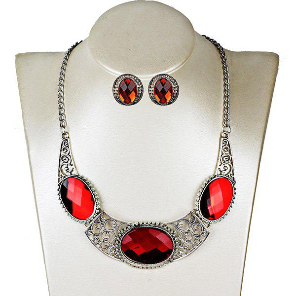 New Faux Gemstone Oval Necklace with Earring Set
