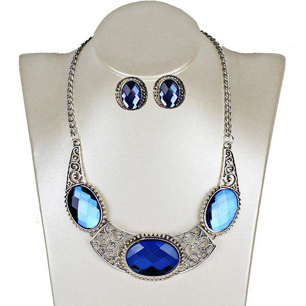 Chic Faux Gemstone Oval Necklace with Earring Set