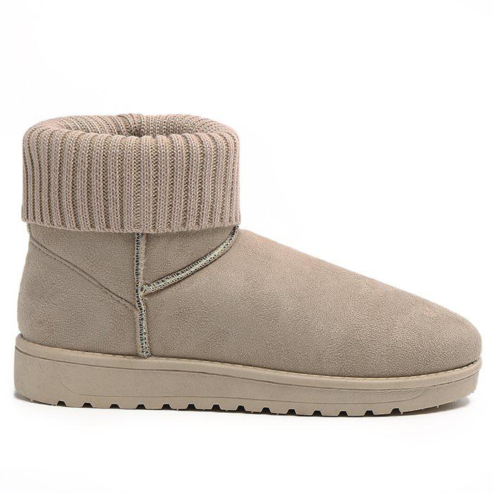 Outfits Knitted Fold Over Ankle Snow Boots