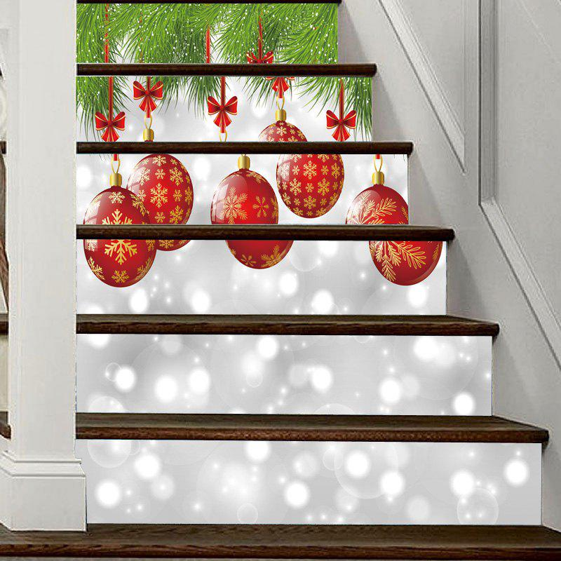 Christmas Baubles Pattern Decorative Stair StickersHOME<br><br>Size: 100*18CM*6PCS; Color: COLORMIX; Wall Sticker Type: Plane Wall Stickers; Functions: Decorative Wall Stickers; Theme: Christmas; Pattern Type: Ball; Material: PVC; Feature: Removable; Weight: 0.3600kg; Package Contents: 1 x Stair Stickers;