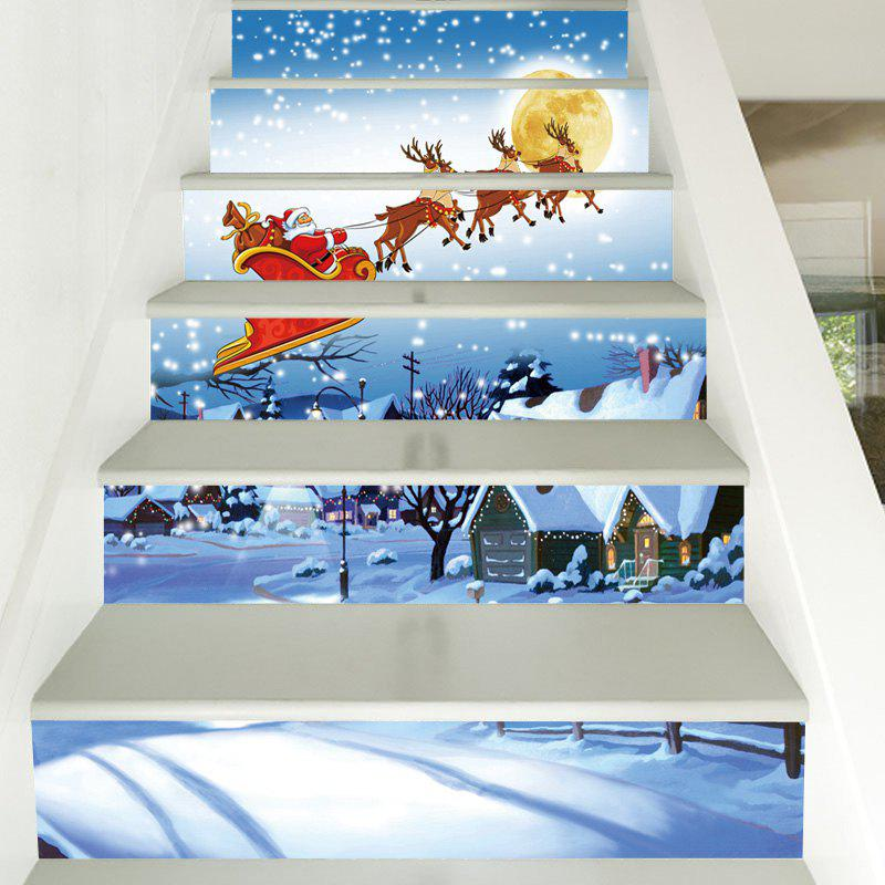 Christmas Snowy Night Santa Pattern Decorative Stair StickersHOME<br><br>Size: 100*18CM*6PCS; Color: COLORMIX; Wall Sticker Type: Plane Wall Stickers; Functions: Decorative Wall Stickers; Pattern Type: Moon,Santa Claus; Material: PVC; Feature: Removable; Weight: 0.3600kg; Package Contents: 1 x Stair Stickers;