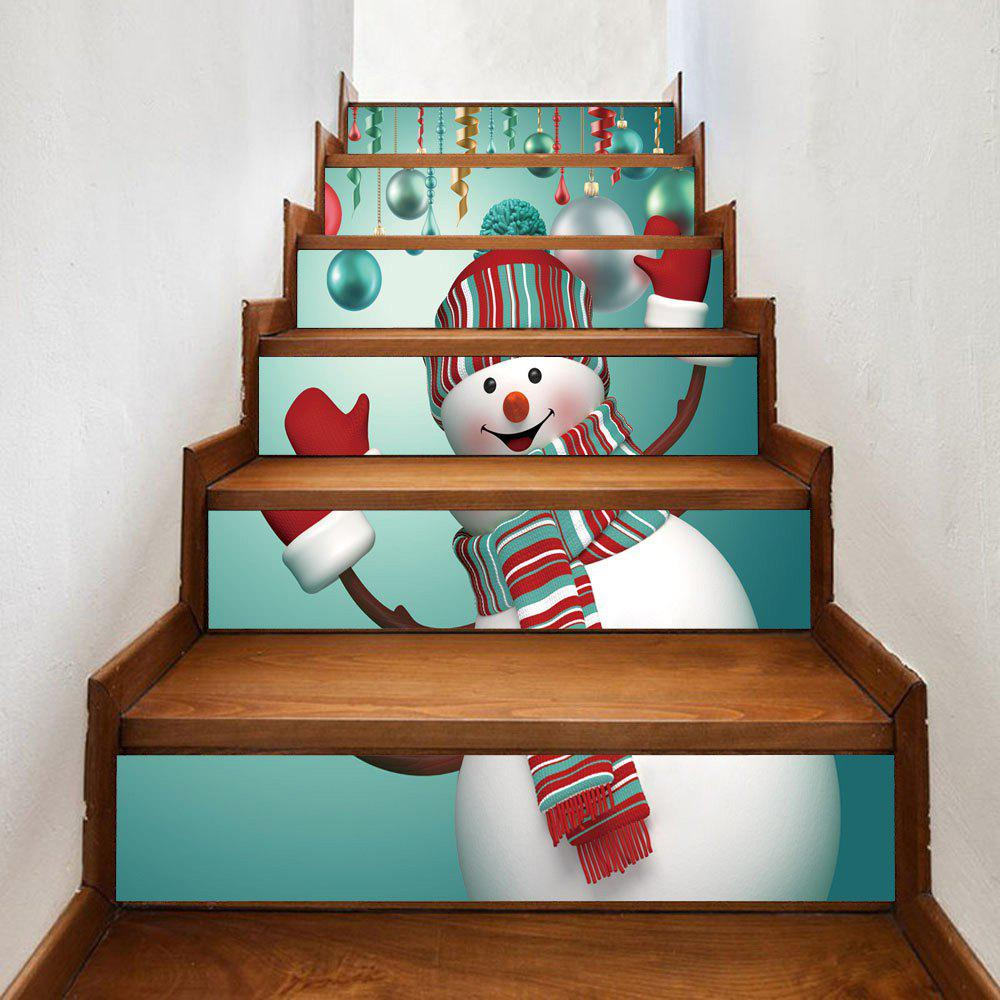 Discount Christmas Snowman Baubles Pattern Decorative Stair Stickers
