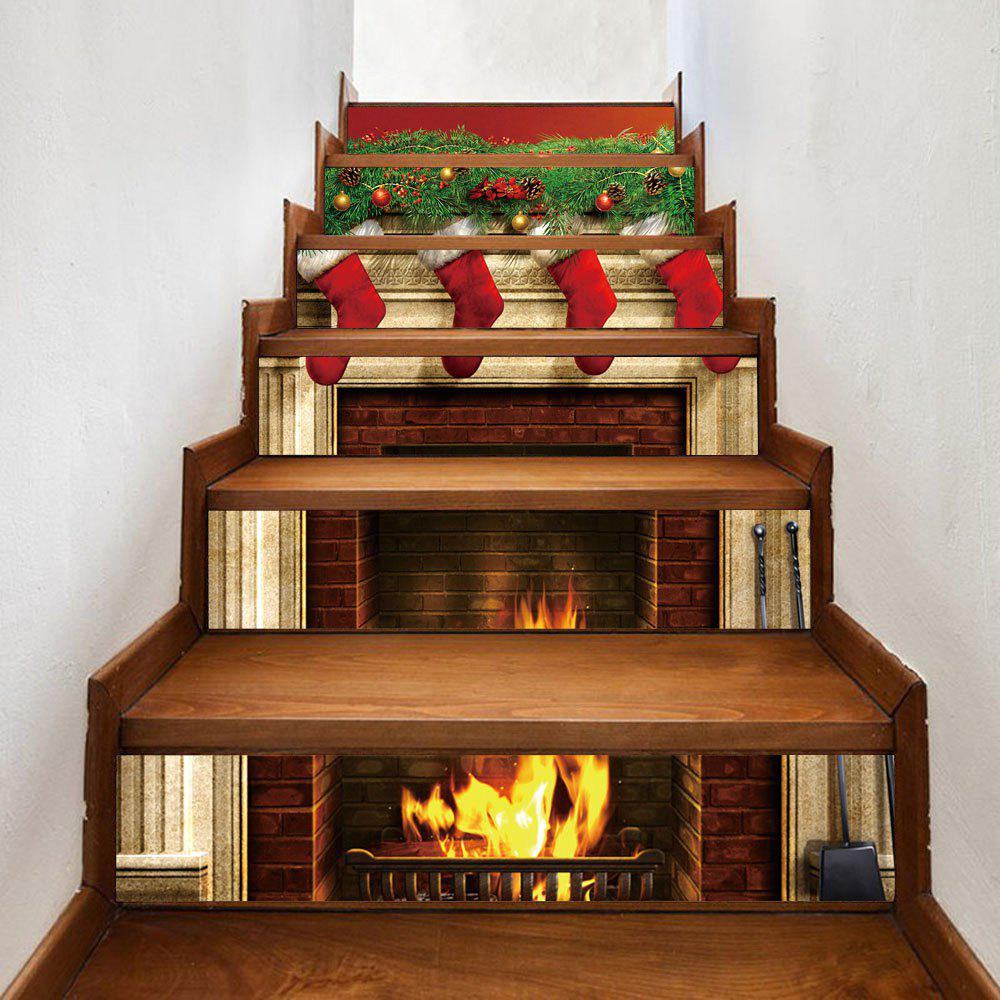 Christmas Fireplace Stockings Pattern Decorative Stair StickersHOME<br><br>Size: 100*18CM*6PCS; Color: COLORMIX; Wall Sticker Type: Plane Wall Stickers; Functions: Decorative Wall Stickers; Theme: Christmas; Pattern Type: Plant; Material: PVC; Feature: Removable; Weight: 0.3600kg; Package Contents: 1 x Stair Stickers;