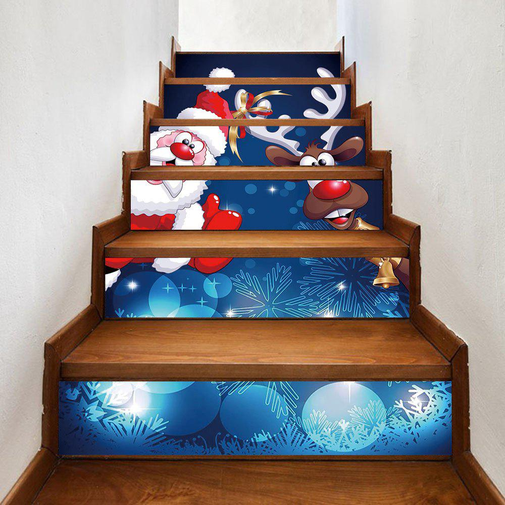 Christmas Santa Deer Pattern Decorative Stair StickersHOME<br><br>Size: 100*18CM*6PCS; Color: COLORMIX; Wall Sticker Type: Plane Wall Stickers; Functions: Decorative Wall Stickers; Theme: Christmas; Pattern Type: Animal,Santa Claus; Material: PVC; Feature: Removable; Weight: 0.3600kg; Package Contents: 1 x Stair Stickers;