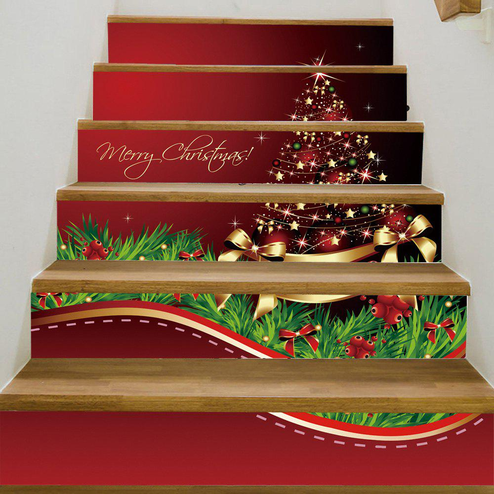 Christmas Star Tree Pattern Decorative Stair StickersHOME<br><br>Size: 100*18CM*6PCS; Color: COLORMIX; Wall Sticker Type: Plane Wall Stickers; Functions: Decorative Wall Stickers; Theme: Christmas; Pattern Type: Bowknot; Material: PVC; Feature: Removable; Weight: 0.3600kg; Package Contents: 1 x Stair Stickers;