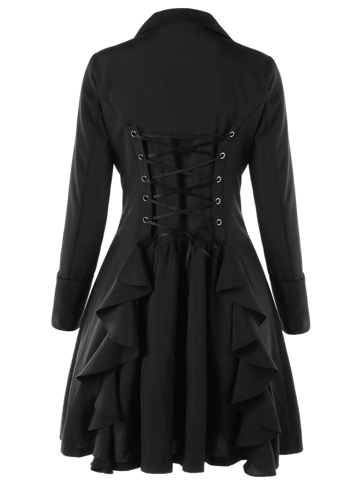 Double Breasted Lace Up Trench CoatWOMEN<br><br>Size: M; Color: BLACK; Clothes Type: Trench; Material: Polyester; Type: High Waist; Shirt Length: Long; Sleeve Length: Full; Collar: Notched Collar; Pattern Type: Solid; Style: Gothic; Season: Fall,Spring; Weight: 0.4000kg; Package Contents: 1 x Trench Coat;