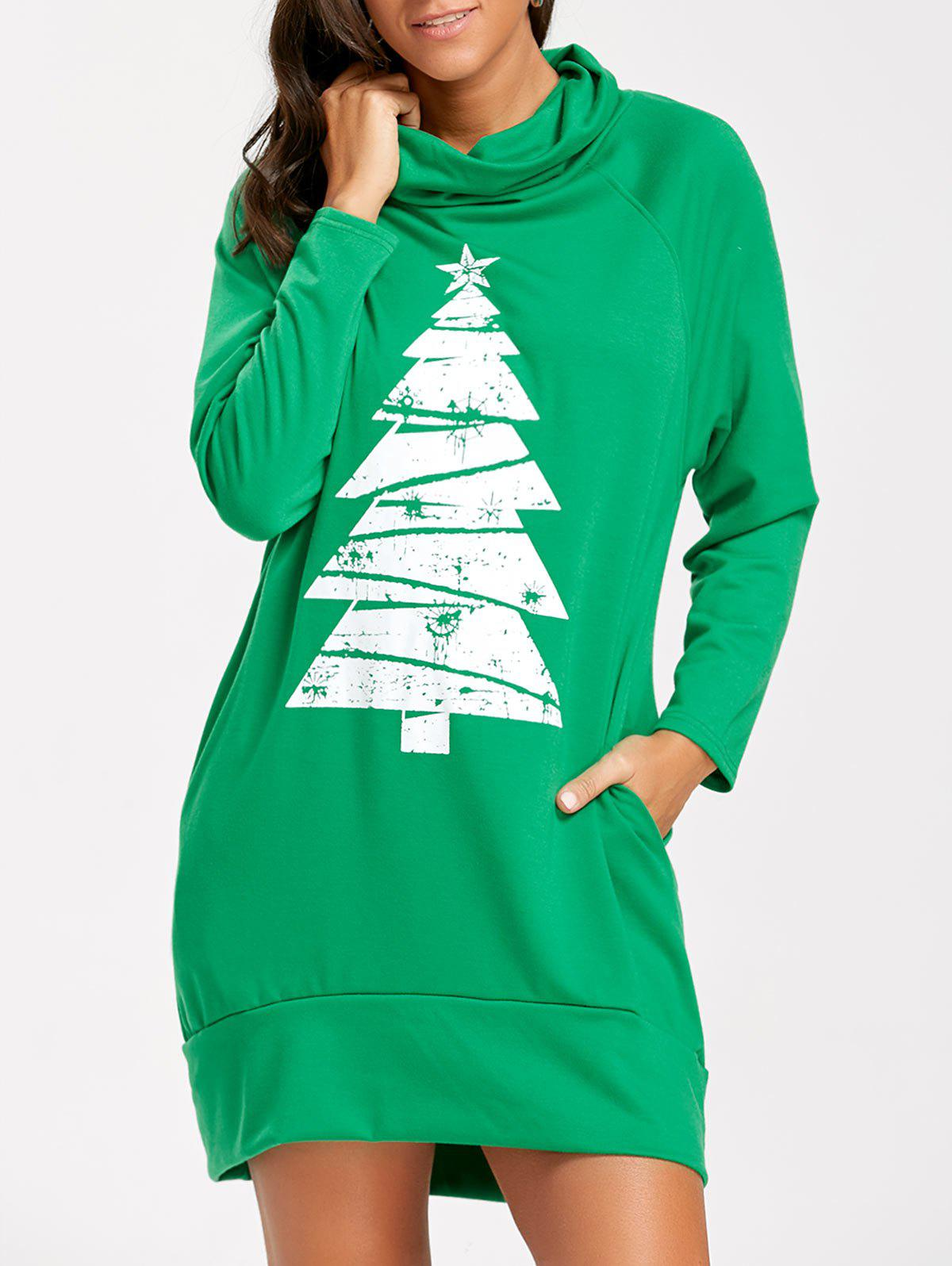 Raglan Sleeve Cowl Neck Christmas Sweatshirt DressWOMEN<br><br>Size: S; Color: GREEN; Style: Casual; Material: Polyester; Silhouette: Straight; Dresses Length: Mini; Neckline: Cowl Neck; Sleeve Length: Long Sleeves; Pattern Type: Print; With Belt: No; Season: Fall,Spring; Weight: 0.4000kg; Package Contents: 1 x Dress; Occasion: Casual;