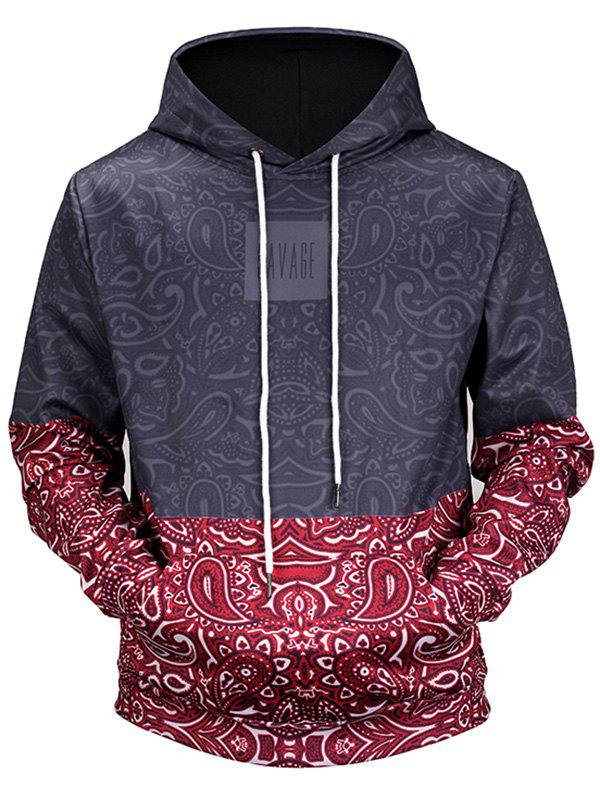 Paisley Print Kangaroo Pocket Pullover HoodieMEN<br><br>Size: 3XL; Color: COLORMIX; Material: Polyester,Spandex; Clothes Type: Hoodie; Shirt Length: Regular; Sleeve Length: Full; Style: Casual; Patterns: Print; Thickness: Regular; Occasion: Casual; Weight: 0.5200kg; Package Contents: 1 x Hoodie;