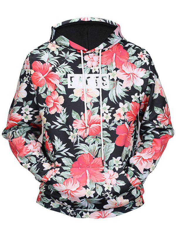 Kangaroo Pocket Tropical Floral Print HoodieMEN<br><br>Size: M; Color: COLORMIX; Material: Polyester,Spandex; Clothes Type: Hoodie; Shirt Length: Regular; Sleeve Length: Full; Style: Casual; Patterns: Floral; Thickness: Regular; Occasion: Casual; Weight: 0.5000kg; Package Contents: 1 x Hoodie;