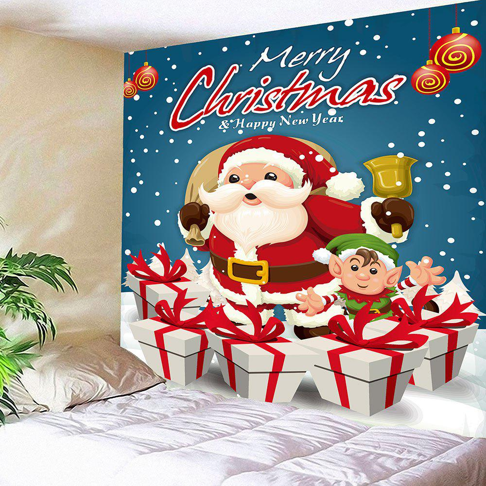 Wall Decor Christmas Gift Santa Claus Print TapestryHOME<br><br>Size: W59 INCH * L51 INCH; Color: BLUE; Style: Festival; Theme: Christmas; Material: Nylon,Polyester; Feature: Removable,Washable; Shape/Pattern: Gift,Letter,Santa Claus; Weight: 0.1800kg; Package Contents: 1 x Tapestry;