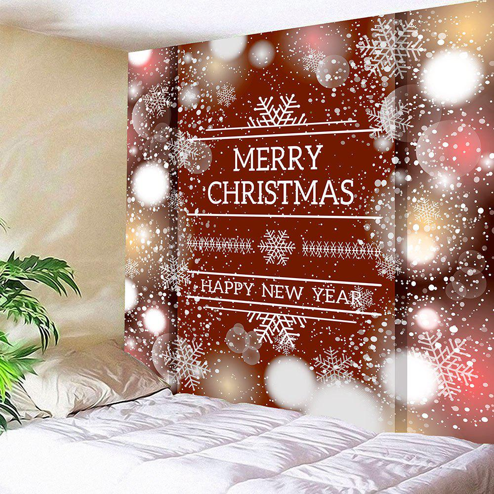 Wall Hanging Christmas Snowflake Letter Print TapestryHOME<br><br>Size: W79 INCH * L71 INCH; Color: CLARET; Style: Festival; Theme: Christmas; Material: Nylon,Polyester; Feature: Removable,Washable; Shape/Pattern: Letter; Weight: 0.3000kg; Package Contents: 1 x Tapestry;