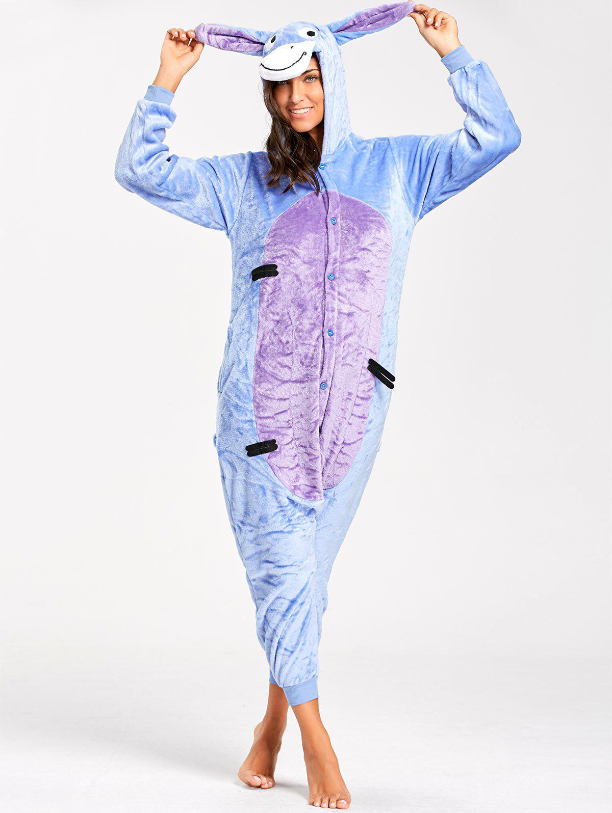 Funny Donkey Animal Onesie Pajamas for AdultWOMEN<br><br>Size: L; Color: BLUE; Material: Polyester; Fabric Type: Fleece; Pattern Type: Animal; Weight: 0.5100kg; Package Contents: 1 x Pajamas;