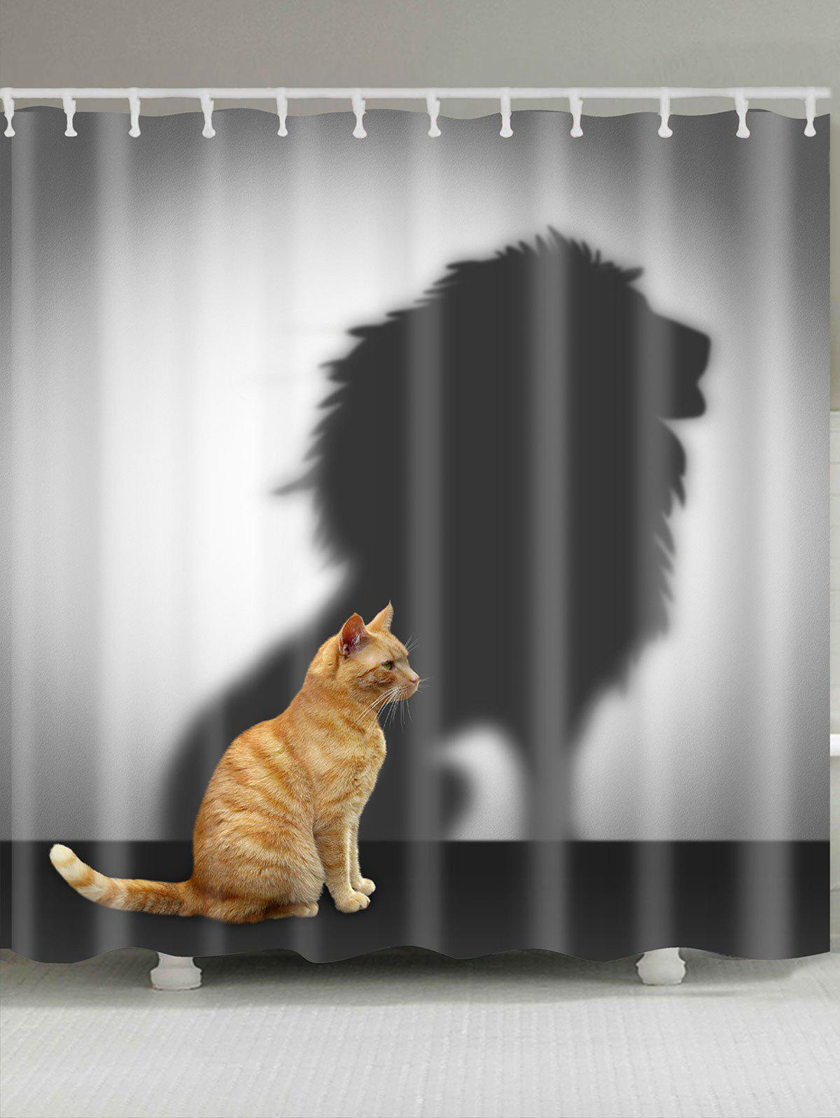 Lion Shadow And Cat Pattern Shower CurtainHOME<br><br>Size: W71 INCH * L71 INCH; Color: GRAY; Products Type: Shower Curtains; Materials: Polyester; Pattern: Animal; Style: Natural; Number of Hook Holes: W59 inch * L71 inch:10, W71 inch * L71 inch:12, W71 inch * L79 inch:12; Package Contents: 1 x Shower Curtain 1 x Hooks (Set);
