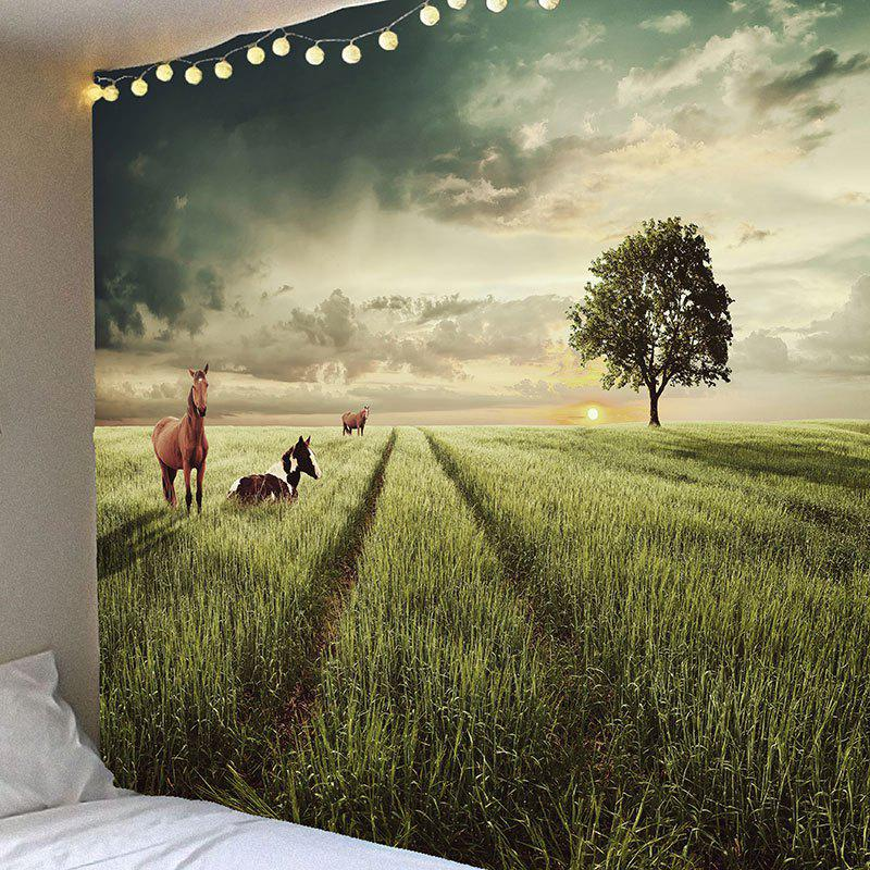 Waterproof Grasses Horse Pattern Wall Hanging TapestryHOME<br><br>Size: W79 INCH * L71 INCH; Color: GREEN; Style: Casual; Theme: Animals; Material: Velvet; Feature: Removable,Washable,Waterproof; Shape/Pattern: Animal; Weight: 0.3900kg; Package Contents: 1 x Tapestry;