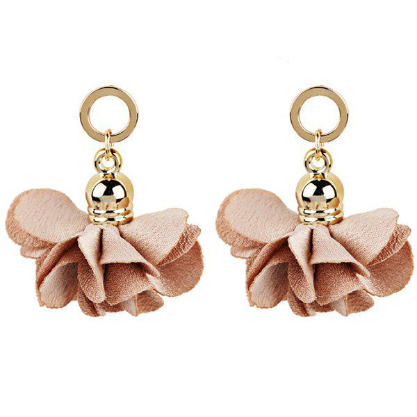 Fabric Flower Round Vintage Drop EarringsJEWELRY<br><br>Color: PINK; Earring Type: Drop Earrings; Gender: For Women; Style: Trendy; Shape/Pattern: Floral; Length: 4CM; Weight: 0.0130kg; Package Contents: 1 x Earring (Pair);