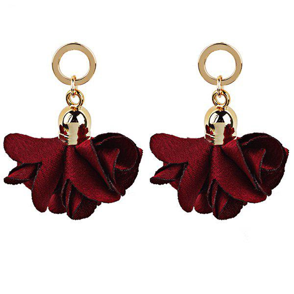Fabric Flower Round Vintage Drop EarringsJEWELRY<br><br>Color: RED; Earring Type: Drop Earrings; Gender: For Women; Style: Trendy; Shape/Pattern: Floral; Length: 4CM; Weight: 0.0130kg; Package Contents: 1 x Earring (Pair);