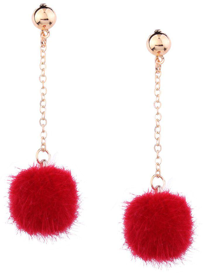 Fuzzy Ball Drop Chain EarringsJEWELRY<br><br>Color: RED; Earring Type: Drop Earrings; Gender: For Women; Style: Trendy; Shape/Pattern: Ball; Length: 6.3CM; Weight: 0.0070kg; Package Contents: 1 x Earring (Pair);