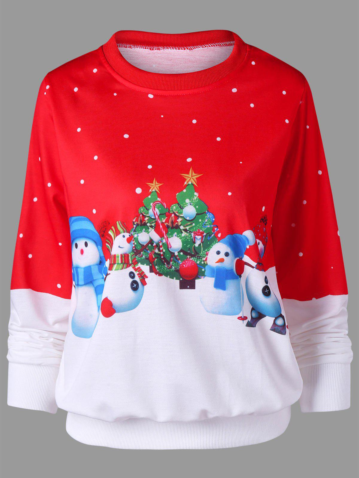 Christmas Snowman Print SweatshirtWOMEN<br><br>Size: XL; Color: RED; Material: Polyester; Shirt Length: Long; Sleeve Length: Full; Style: Casual; Pattern Style: Others; Season: Fall,Spring; Weight: 0.3000kg; Package Contents: 1 x Sweatshirt;