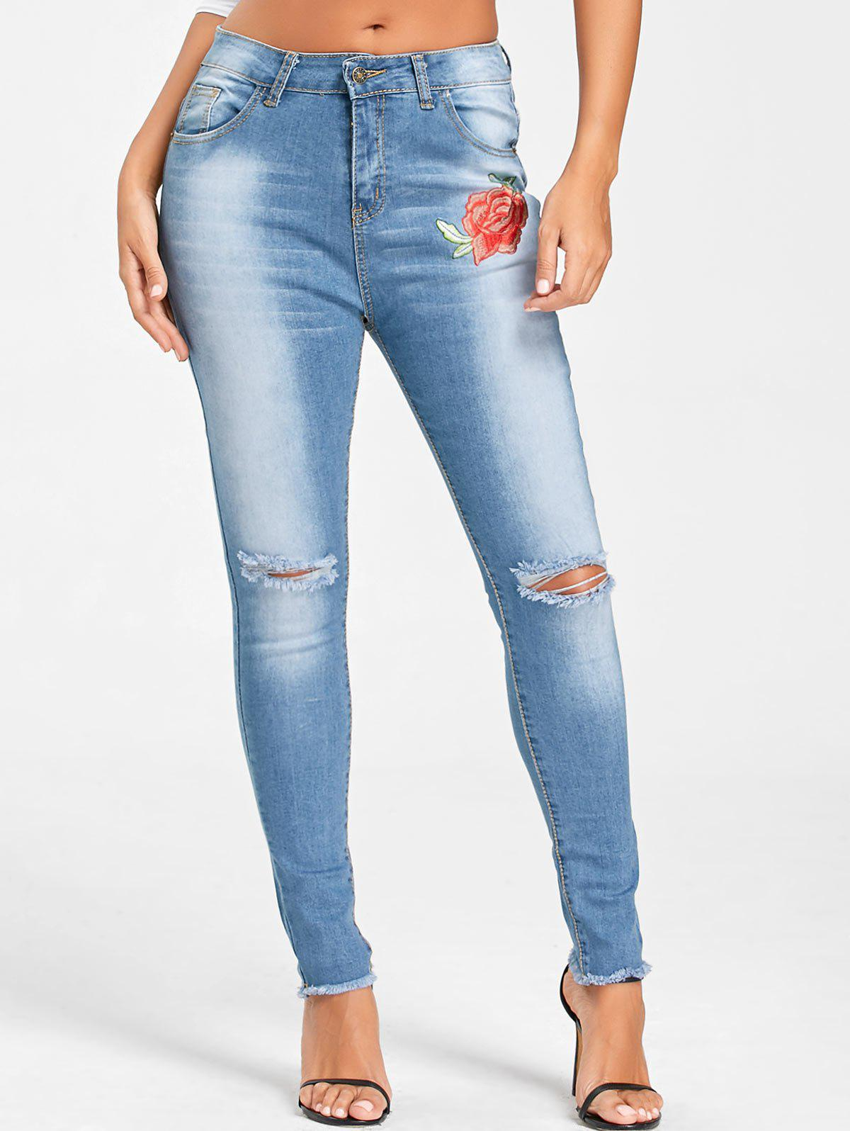 Hot Embroidery Knee Ripped Frayed Hem Jeans