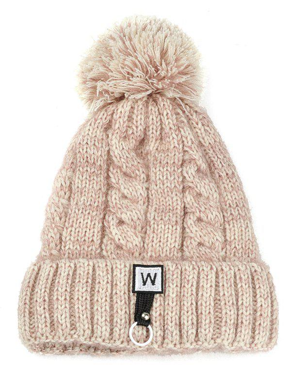 Shop Letter W Embroidery Embellished Thicken Knitted Pom Beanie