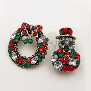 Rhinestoned Christmas Wreath Snowman Brooch Set -