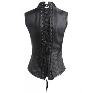 Lace-up Steampunk Striped Corset Vest -