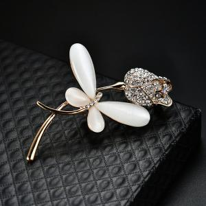 Rhinestone Flower Butterfly Brooch -