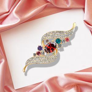 Faux Gem Strass Ruban Broche -
