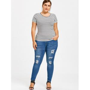Plus Size Destroyed Tight Jeans -