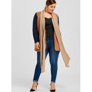Plus Size Cable Knit Shawl Collar Coat -