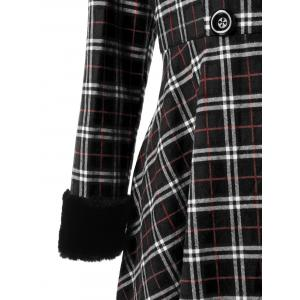 Plus Size Double Breasted Checked Swing Coat -