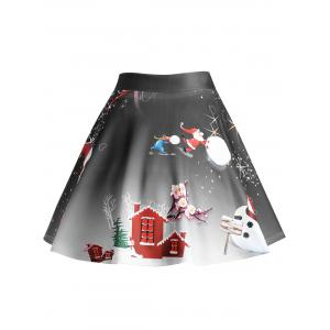 Christmas Tree Snowman Wintersweet Print Ombre Plus Size Skirt -