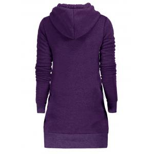 Drawstring Tunic Hoodie Dress with Pocket -