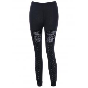 Criss Cross Lace Insert Leggings -