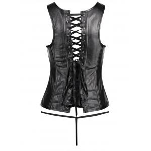 Plus Size Zip Faux Leather Corset Vest -