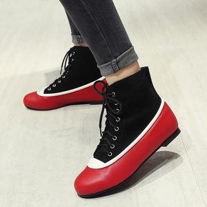 Flat Heel Lace Up Color Block Boots -