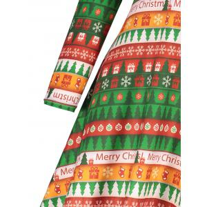Christmas Plus Size Tree Printed Tee Dress -