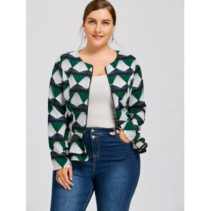 Printed Plus Size Peplum Coat -