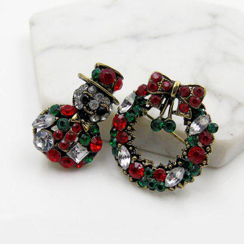 Outfit Rhinestoned Christmas Wreath Snowman Brooch Set