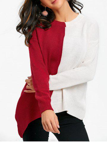 Color Block Asymmetrical Crew Neck Sweater