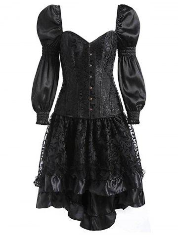 Buy Two Piece Asymmetric Flounce Vintage Corset Dress