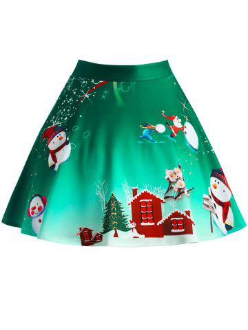 Christmas Tree Snowman Wintersweet Print Ombre Plus Size Skirt - GREEN - XL