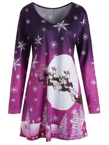 Trendy Christmas Snowflake Sled Moon Print Plus Size T Shirt Dress