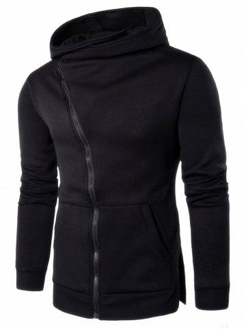 Kangaroo Pocket Asymmetrical Zip Side Split Hoodie